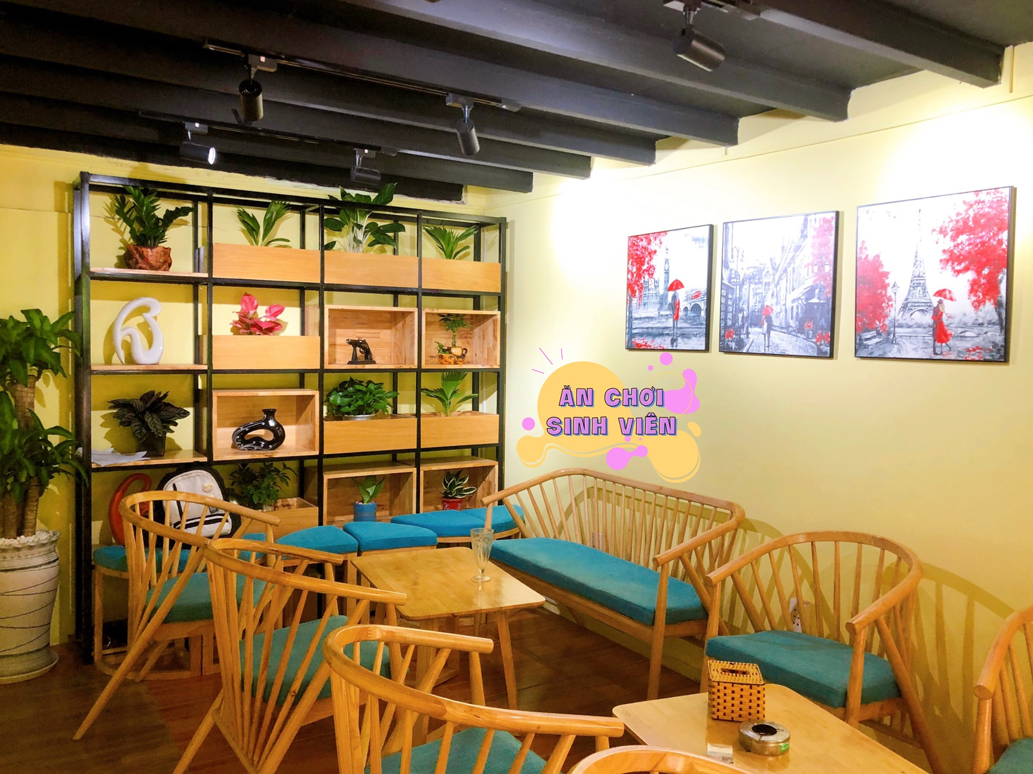 sofa kem trứng làng đại học trang trí quán